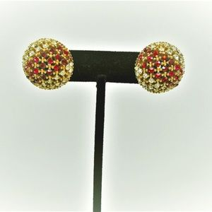Ciner Vintage Clip On Earrings Red & Clear Stones